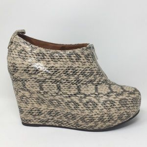 Jeffrey Campbell Wedge Ankle Boots Heels Snake 8.5